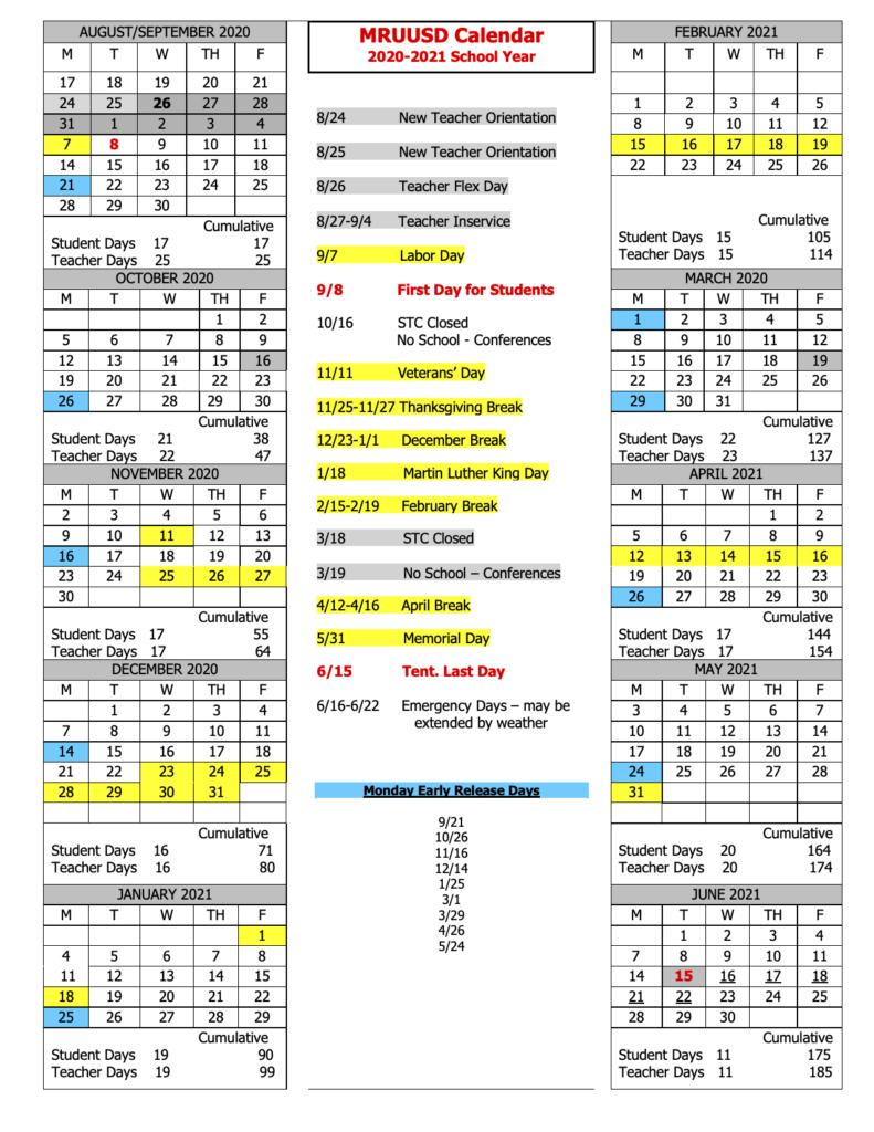 Vt Calendar 2022.School Year Calendar Shrewsbury Mountain