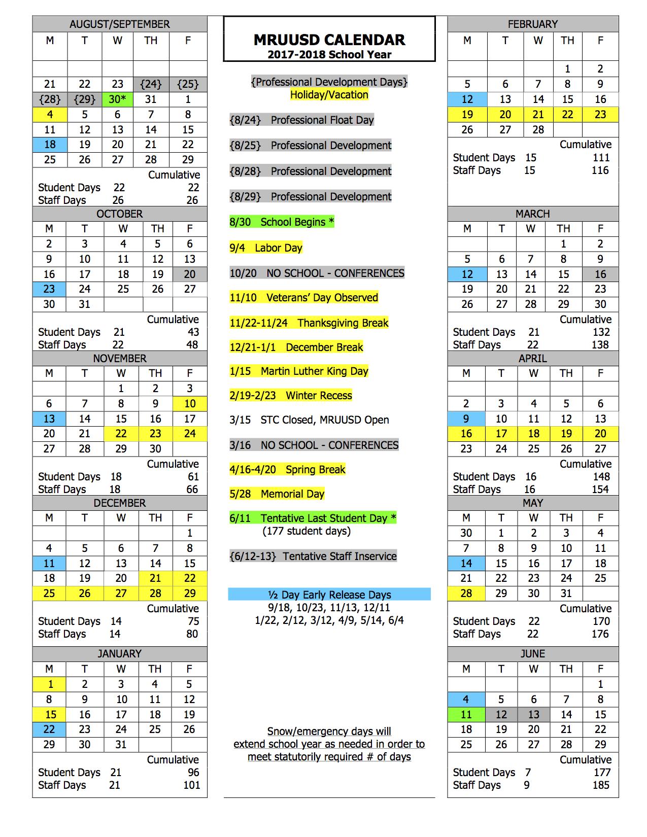 Year Calendar School : School year calendar mill river schools