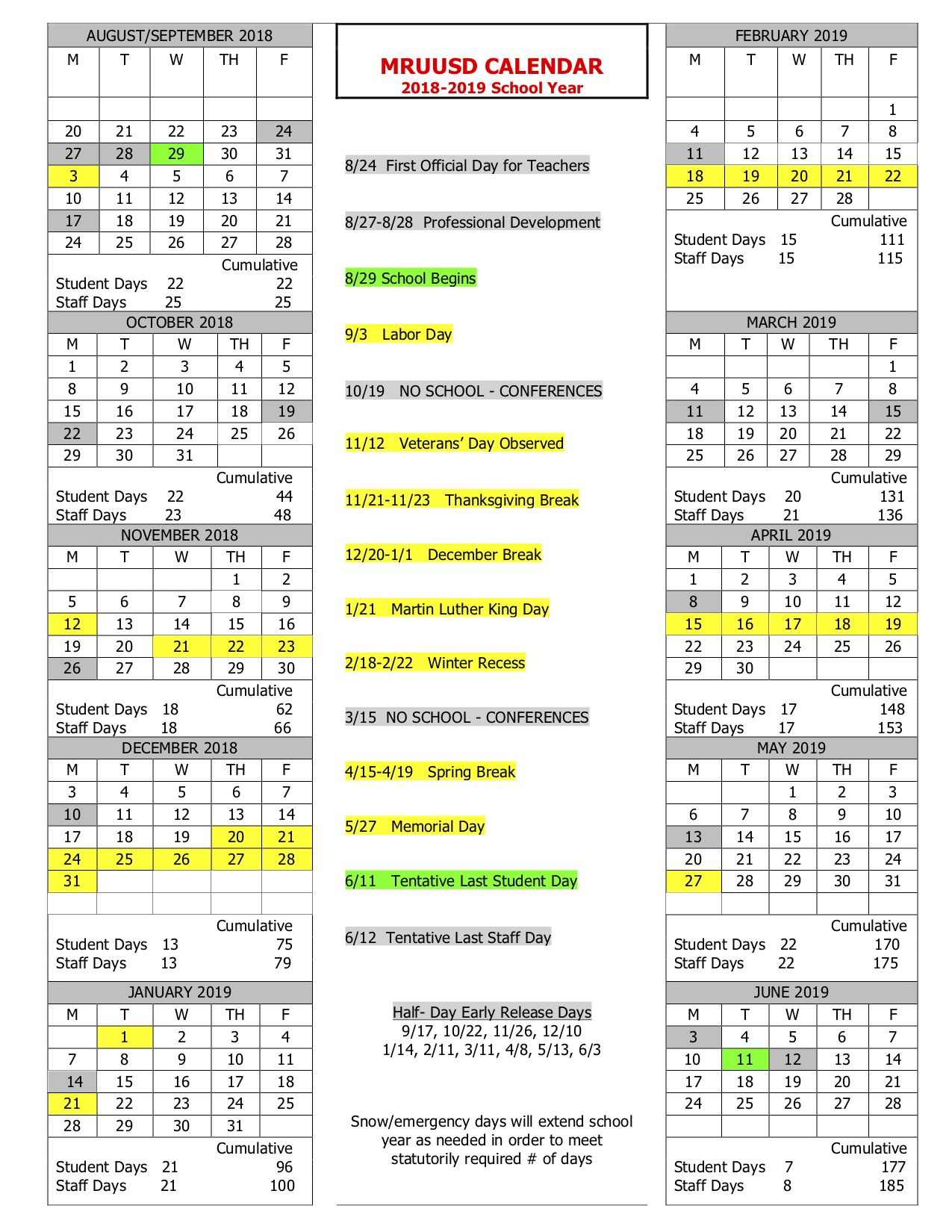 Academic Calendar Vt December 2019 School year Calendar – Mill River Union High School